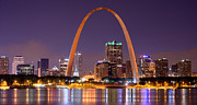 St Louis Missouri Posters - St. Louis Skyline at Night Gateway Arch Color Panorama Missouri Poster by Jon Holiday