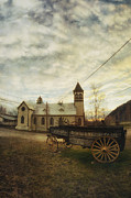 Vintage Wagon Posters - St. Pauls Anglican Church with Wagon  Poster by Priska Wettstein
