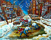 City Of Montreal Painting Prints - St Urbain Street Boys Playing Hockey Print by Carole Spandau