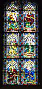 Glass Wall Posters - Stained Glass Window Of Santa Maria Del Fiore Church Florence Italy Poster by Irina Sztukowski
