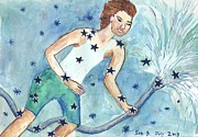 Zodiac Paintings - Star Sign Aquarius by Sushila Burgess
