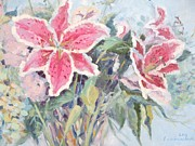 Alizarin Crimson Paintings - Stargazer Lilies by Elinor Fletcher