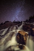 Instruction Posters - Starry Night Waterfalls In Rocky Mountain National Park Poster by Mike Berenson