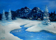 Serenity Scenes Landscapes Paintings - Starry Night Winter Moonlight by Shasta Eone