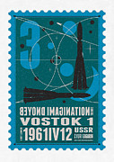 Science Fiction Prints - Starschips 03-poststamp - Vostok Print by Chungkong Art