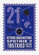 Science Fiction Prints - Starschips 21- poststamp - Sputnik 2 Print by Chungkong Art