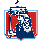 Justice Digital Art - Statue of Liberty Wielding Sword Scales Justice by Aloysius Patrimonio