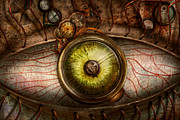 Red Eye Prints - Steampunk - Creepy - Eye on technology  Print by Mike Savad