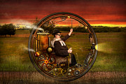 Old-fashioned Digital Art Prints - Steampunk - The gentlemans monowheel Print by Mike Savad