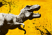 Extinct And Mythical Mixed Media Posters - Stencil TREX Poster by Pixel Chimp