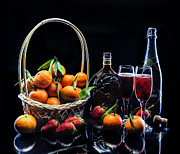 Tangerines Prints - Still Life Black Print by Alexey Zikin