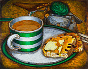 Pottery Paintings - Still life with green touring bike by Mark Howard Jones
