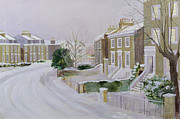 Urban Winter Scenes Framed Prints - Stockwell under Snow Framed Print by Sarah Butterfield
