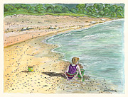Sand Castles Prints - Stone Treasures Print by Janis  Cornish