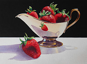Strawberries Paintings - Strawberries and Gold Creamer by Jean Yates
