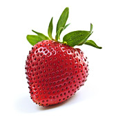 Berry Photo Posters - Strawberry on white background Poster by Elena Elisseeva