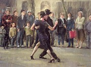 Crowd Scene Art - Street Tango  by Pat Maclaurin