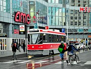 Rainy Street Painting Framed Prints - Streetcar on Dundas Framed Print by Kenneth M  Kirsch