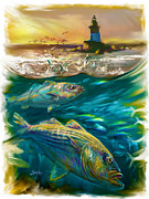 New England Lighthouse Painting Prints - Striper and Lighthouse - Striped Bass Art Print by Mike Savlen