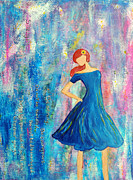 Happy Posters Originals - Strong Girl in blue dress by Lauretta Curtis