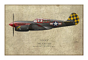 Red Tiger Posters - Stud P-40 Warhawk - Map Background Poster by Craig Tinder