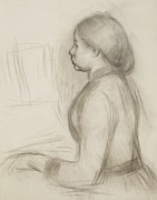 Impressionistic Drawings Framed Prints - Study of a Young Girl at the Piano Framed Print by Pierre Auguste Renoir