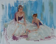 Ballerinas Prints - Study of Ballerinas Seated Print by Carol Berning
