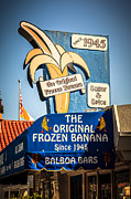 Balboa Island Framed Prints - Sugar and Spice Frozen Banana Sign on Balboa Island Framed Print by Paul Velgos