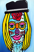 Original Abstract Art Drawings - Sugar Skulls 2 by Fidostudio by Tom Fedro - Fidostudio
