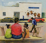 African American Paintings - Summer City Stoop by Colin Bootman