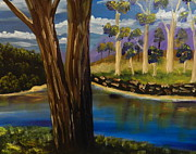 Snowy Trees Paintings - Summer in the Snowy River Region by Pamela  Meredith