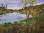 Oregon Pastels Prints - Summer on the North Umpqua Print by Nancy Jolley