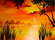Serenity Scenes Landscapes Paintings - Summer  Scene by Shasta Eone