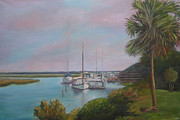 Docked Sailboat Painting Framed Prints - Sunday Afternoon View From The Cross Framed Print by Patty Weeks