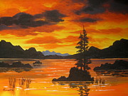 Serenity  Oregon Paintings - Sunlight  Fire  by Shasta Eone