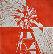 Linocut Mixed Media Posters - Sunny Windmill Poster by Verana Stark