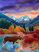 Montana Wildlife Paintings - Sunrise at Two Medicine Lake by Harriet Peck Taylor