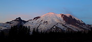 Pink Sunrise Photos - Sunrise on Mt. Rainier by Angie Vogel