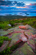 Bass Harbor Lighthouse Posters - Sunset at Cadillac mountain Poster by Emmanuel Panagiotakis