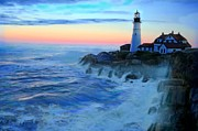 New England Lighthouse Painting Prints - Sunset at Portland Head Lighthouse Print by Earl Jackson