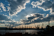 Industrial Background Originals - Sunset at the docks by Absenth Photography
