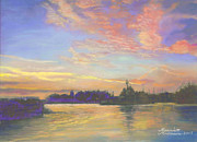 Victoria Pastels - Sunset at Victoria Harbor by Harriett Masterson