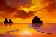 Serenity Scenes Landscapes Paintings - Sunset  Beach by Shasta Eone