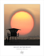 Sunset Posters Digital Art Prints - Sunset On The Beach Art Poster - California Collection Print by Ben and Raisa Gertsberg