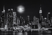 New York City Skyline Framed Prints - Super Moon Over NYC BW Framed Print by Susan Candelario