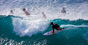 Tropical Islands Photos - Surfing Maui by Adam Romanowicz