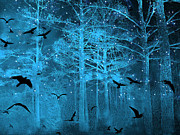 Shimmering Posters - Surreal Fantasy Blue Woodlands Ravens and Stars - Fairytale Fantasy Blue Nature With Flying Ravens Poster by Kathy Fornal