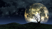 Spooky  Digital Art Originals - Surreal moon background by Kirsty Pargeter