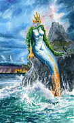 Mermaids Paintings - Survivor by Ken Meyer jr
