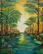 Panama City Beach Painting Prints - Swamp Sunrise Print by April Moran